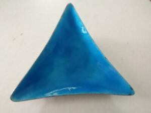 Vint ONC Old Newbury Crafters Sterling Blue Enamel Triangle Bowl / Tray