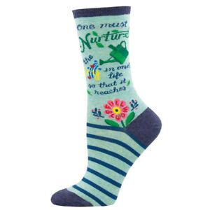 Socksmith Womens Crew Socks Full Bloom Gardening Plants Fun Novelty Footwear New