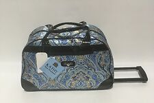 NEW KATHY VAN ZEALAND BLUE SUMMER PAISLEY WHEELED DUFFLE LUGGAGE CITY BAG $120