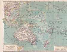 Océanie Mers Du Sud Samoa Fidji Carte Géographique V 1897 Micronésie Polynésie