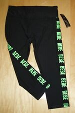 BEBE SPORT WOMEN'S ACTIVE WEAR PANTS LOGOS DOWN LEGS SIZE STRETCHY LARGE NWT