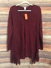 American Rag Plus Size 2X Burgundy Fringe V Neck Sweater NWT