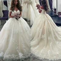 Luxurious Ball Gown Wedding Dresses Off Shoulder Lace Appliques Bridal Gowns New