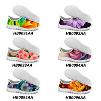 Women Floral Mesh Shoes Breathable Casual Sneakers Smart Running Sport Shoes