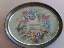 Completed Framed/Glass Cross Stitch Dimensions Forest Birds Wreath - Christmas