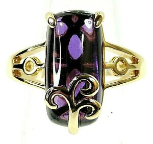 Yellow Gold Filled Size 8.5 Ring 16*8mm Amethyst Gemstone
