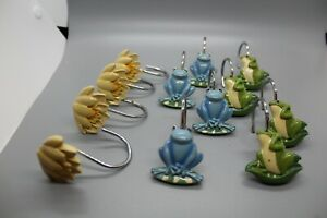 FROGS AND LILY PAD SHOWER CURTAIN HOOKS GREEN BLUE YELLOW SET OF 12
