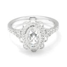 Oval Rose Cut Diamond Filigree Engagement Ring 18K White Gold .80ctw