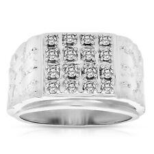 1/2 cttw Men's Diamond Ring 10K White Gold Wedding Engagement Bridal Style Size