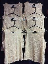 Gold Dance Tops by JTB Tank Style Floral Mesh Lot of 6 Sizes MA (4) LA (2)