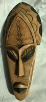 Handcrafted Wooden African Mask Wall Art Decor Ghana 17.5""
