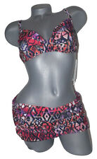 NWT GOTTEX swimsuit bikini skirted 8 34D cup ruched underwire 2pc ruffled sassy