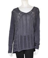 NEW LADIES GORGEOUS  GREY CROCHET  EFFECT  LONG SLEEVED  JUMPER SIZE 14