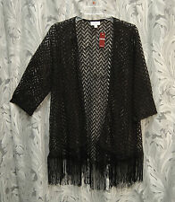 BLACK OPEN-FRONT/WEAVE LACE KNIT CROCHET FRINGE CARDIGAN JACKET TOP~22/24~2X~NW