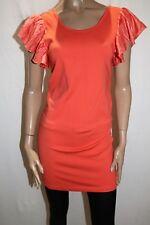 ef Brand Women's Orange Frill Sleeve Dress Size S BNWT #TO86