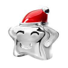 MATERIA 925 Silber Beads Stern mit Weihnachtsmütze rot Weihnachten Schmuck Charm
