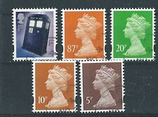 GREAT BRITAIN 2013 DOCTOR WHO 5 NEW DEFINITIVE GUMMED STAMPS. FINE USED.