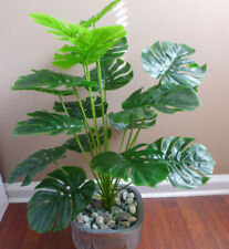 "Artificial Monstera Plant 22"" Tall Palm Bush Tree Faux 18 Turtle Leaves"