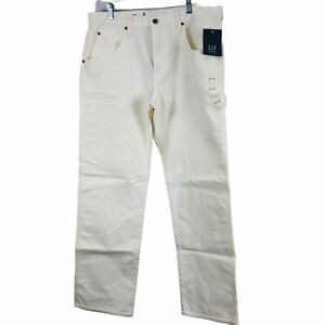 NEW Gap Jeans Adult Standard Fit Size 34/30 White Workwear Stretch Men's