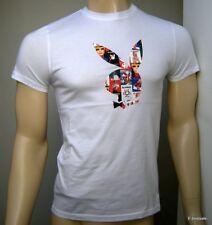 Playboy T-shirt 100% Originale Taglie Varie bianca New!