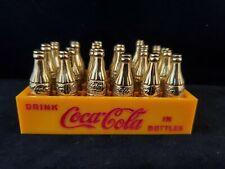 COCA COLA 24 Miniature Mini Gold Metal Bottles Yellow Crate Drink Coca-Cola Coke