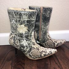 White Diamonds Snakeskin Leather Western Ankle Boots Women's Size 6/23 With Belt