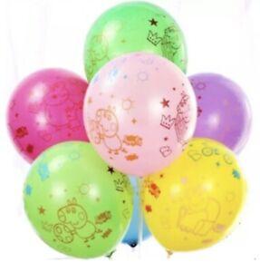 Peppa Pig Birthday Party Latex Balloons X 12 Multi. Peppa Pig Decorations New