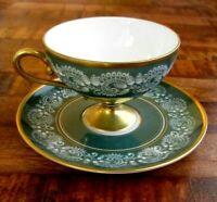 Vtg Hutschenreuther Selb Porcelain Demitasse Cup & Saucer - Green & Gold, 1960s