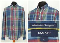 Mens GANT The Tartan Linen Shirt Multicolor Long Sleeve Check Size L