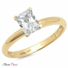 1 Ct Brilliant Emerald Shaped Cut Solitaire Engagement Ring Real 14k Yellow Gold