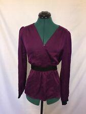 Diana Ferrari Purple satin with black waist tie size 14