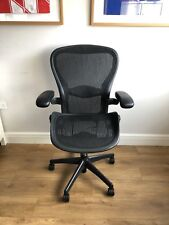 HERMAN MILLER AERON (B) BLACK MESH ERGONOMIC OFFICE TASK CHAIR. FULLY LOADED