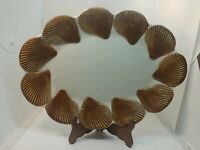 Fitz & Floyd Classics Large Oval Serving Platter Sea Shells  Brown 1975 Vintage