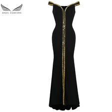 Angel-fashions Women's Off Shoulder V Neck Floor Length Black Formal Gown 398
