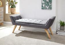Milan Grey Upholstered Grey Hopsack Modern Textured Window Seat Bench