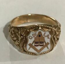 10k Yellow Gold Masons Freemasonry Ring 6.5 grams Size 8 3/4