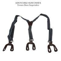 5Navy Unisex Suspender Braces Adjustable with Dark Brown Button Holes 2.5cm wide