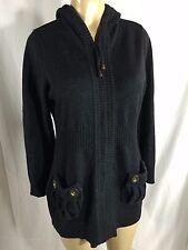 MAX MARA Long Navy Gray Blue Cashmere Blend Zipper Hooded Sweater