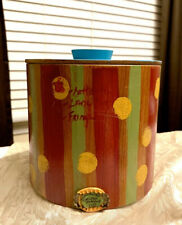 BEAUTIFUL HAND PAINTED FOLK ART CANISTER with LID BY DEIDRA YOUMANS