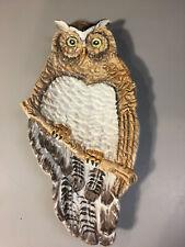Ceramic Vintage Owl Trinket Dish Brown and Cream w/Yellow & Black Eyes