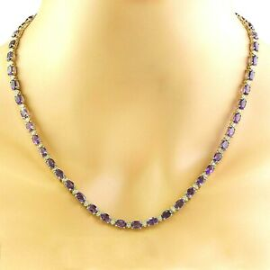 30Ct Amethyst & Diamond Anniversary Necklace Free Studs In14K Yellow Gold Finish