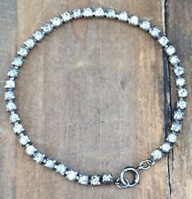 "RHINESTONE TENNIS Sterling Silver CZ Cubic Zirconia Bracelet Patina Vintage 7"""