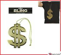Adulte Hommes 70 S Proxénète Gangster Big Daddy avec Dollar Médaillon CHAPEAU CANNE fancydress