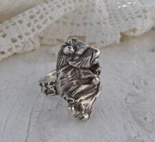 Vintage Sterling Silver Brutalist Organic Large Flowing Ring 12 Signed AR