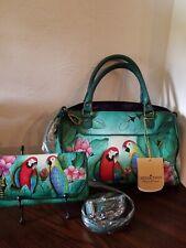 Anuschka Brazilian Beauties Zip Top Satchel W/wallet NWT