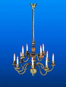Dolls House Nostalgic 12 Arm Candle Chandelier Antique Brass Electric Lighting