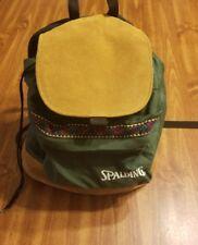 Vtg Spalding Hunter Green Brown Leather Canvas Backpack Drawstring School Bag