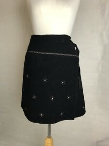 Indies Paris Boiled Wool Wrap Embroidered Skirt
