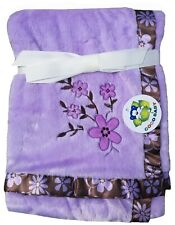 """Plush Purple Baby Girl Floral Blanket, with Brown Satin Trim, 30""""x40"""""""