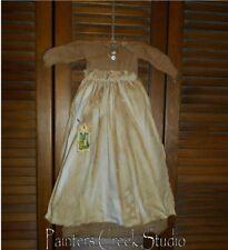 Primitive Wall Cupboard Decor Dress TAN CHECK W/ APRON Folk Art Country Grungy